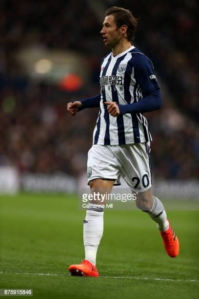 Grzegorz Krychowiak of West Bromwich Albion during the Premier League match between West Bromwich Albion and Chelsea at The Hawthorns on November 18...