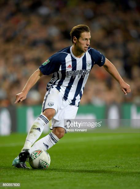 Grzegorz Krychowiak of West Bromwich Albion in action during the Carabao Cup third round match between West Bromwich Albion and Manchester City at...