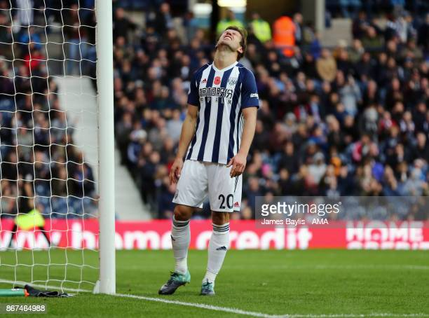 Grzegorz Krychowiak of West Bromwich Albion reacts after missing a chance to score during the Premier League match between West Bromwich Albion and...