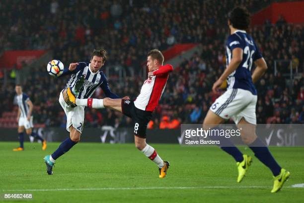 Grzegorz Krychowiak of West Bromwich Albion tackles Steven Davis of Southampton during the Premier League match between Southampton and West Bromwich...