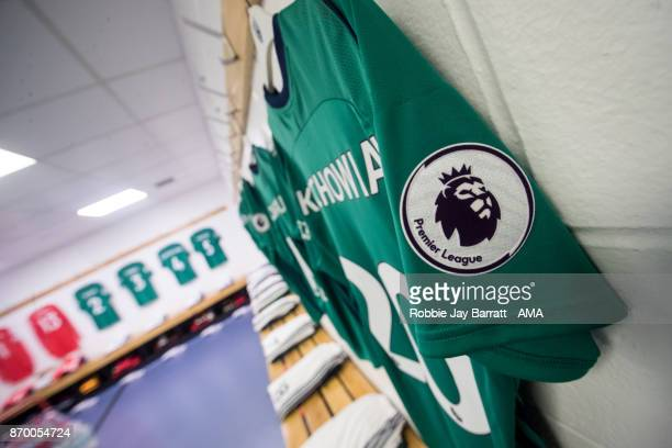 Grzegorz Krychowiak of West Bromwich Albion's shirt hangs in the dressing room prior to kick off during the Premier League match between Huddersfield...