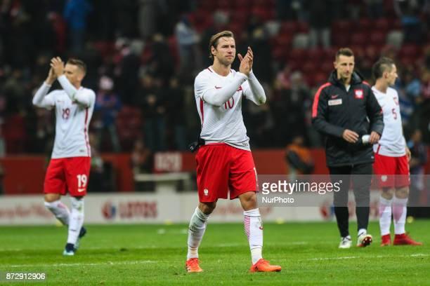 Grzegorz Krychowiak Piotr Zielinski reacts after the international friendly match between Poland and Uruguay at National Stadium on November 10 2017...