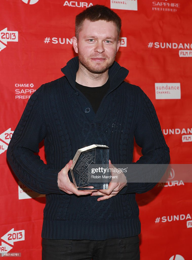Grzegorz Zariczny of The Whistle, winner of the Short Film Grand Jury prize poses with award at the Awards Night Ceremony during the 2013 Sundance Film Festival at Basin Recreation Field House on January 26, 2013 in Park City, Utah.