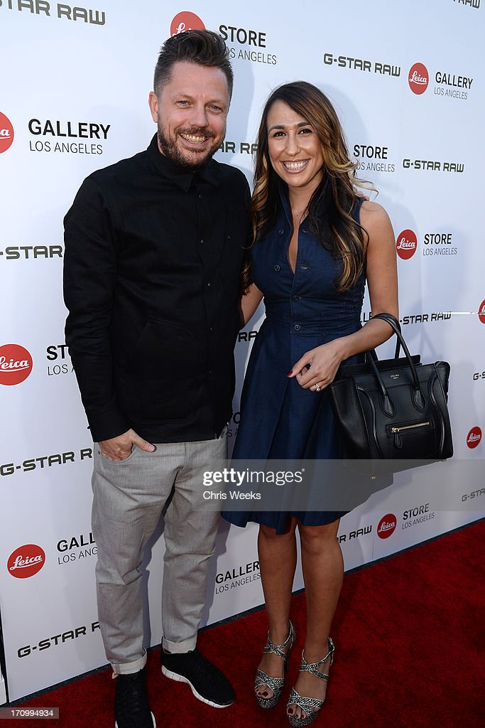 G-Star Brand Manager Remco de Nijs (L) and G-Star PR Manager, USA Ida Kay attend G-Star RAW unveils RAW Leica at the Leica store opening on June 20, 2013 in West Hollywood, California.