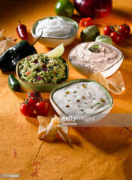 Guacamole and Mexican Cheese Dips