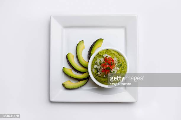 Guacamole with Avacados on a plate