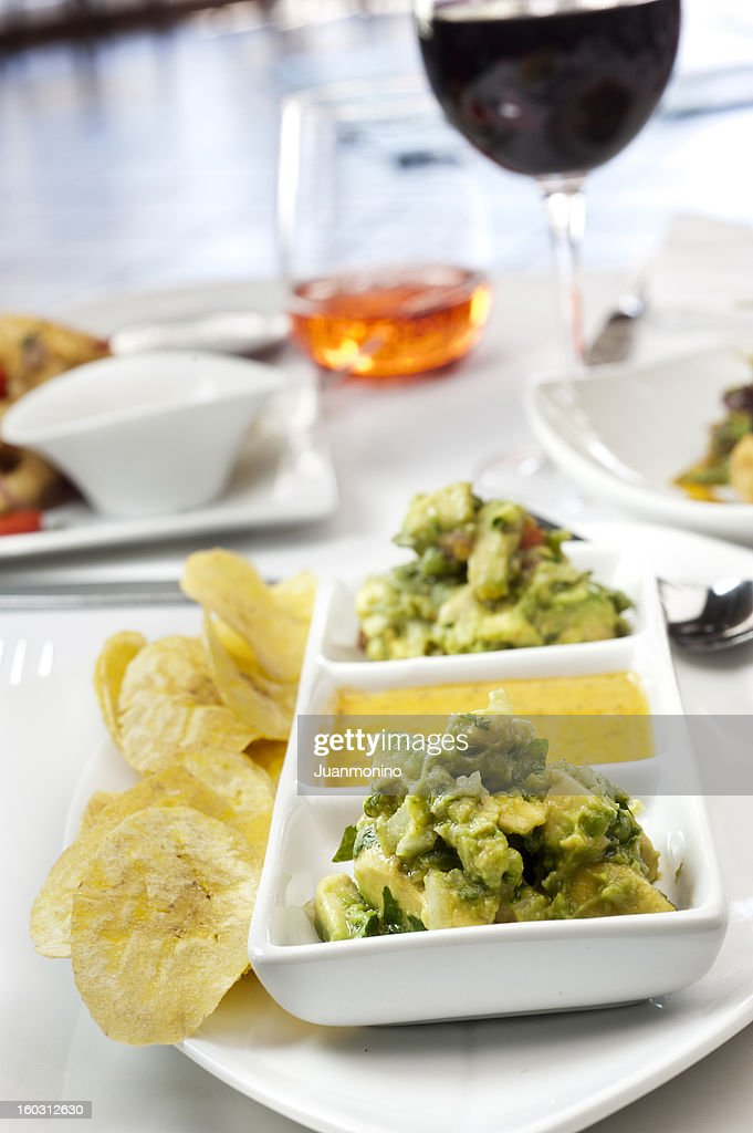 Guacamole with plantain chips