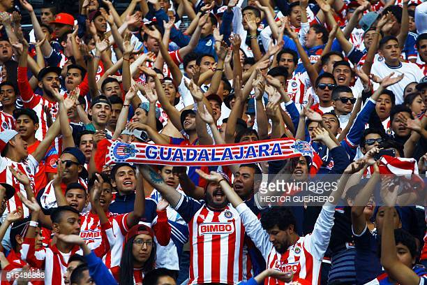 Guadalajara fans chant slogans encouraging their team during their Mexican Clausura 2016 tournament football match against America at Chivas' stadium...