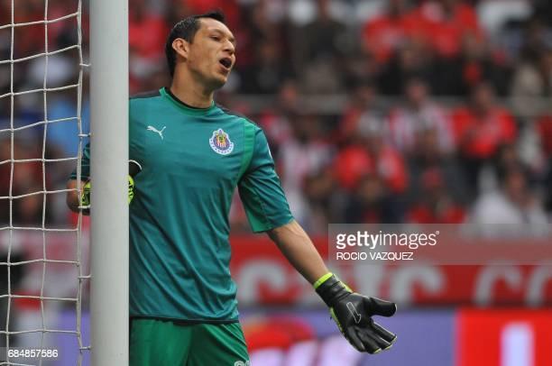 Guadalajara goalkeeper Rodolfo Cota reacts during the Mexican Clausura 2017 Tournament football match against Toluca at Nemesio Diez stadium on May...