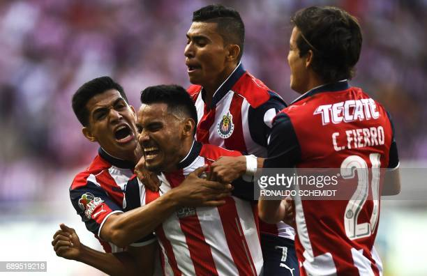 Guadalajara´s Jose Vazquez celebrates his goal against Tigres during the final match of the Mexican Clausura 2017 football tournament at the Chivas...