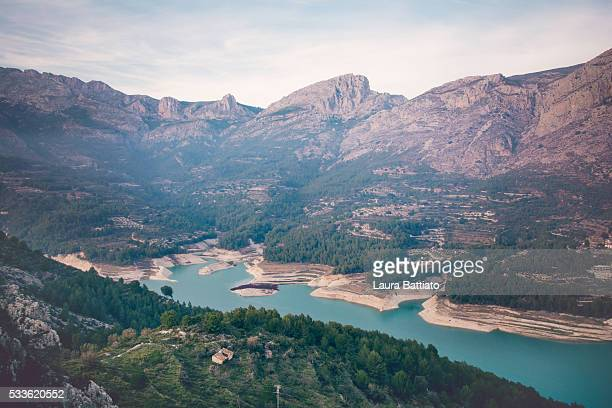 Guadalest - Landscape view of the reservoir in Guadalest, Alicante, Spain