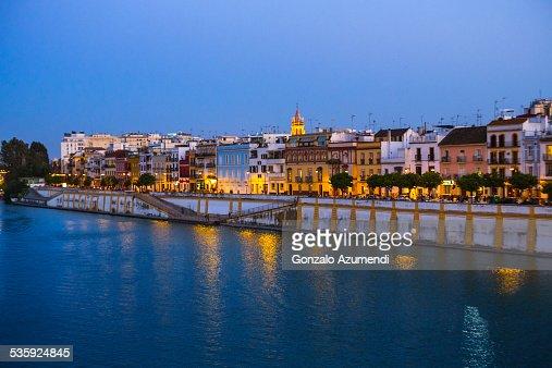 Guadalquivir river in Seville. : Stock Photo