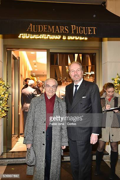 Gualtiero Marchesi and Arturo Artom attend at Audemars Piguet launch the Royal Oak Yellow Gold collection at AP boutique on February 22 2016 in Milan...