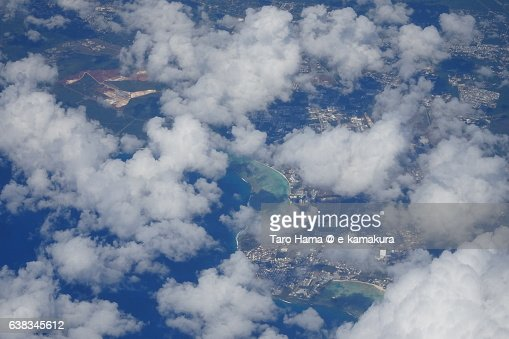 Guam island aerial view from airplane