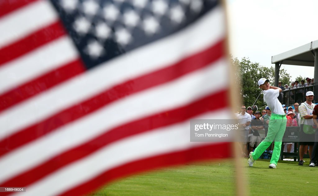 Guan Tianlang of China hits a tee shot on the 18th hole during the second round of the 2013 HP Byron Nelson Championship at the TPC Four Seasons...