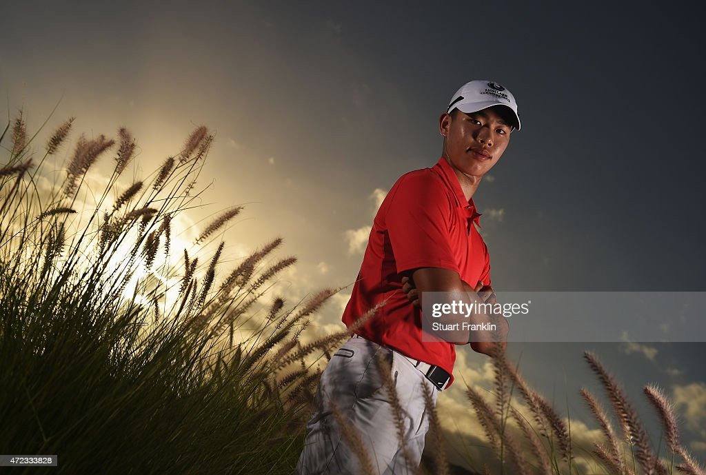 <a gi-track='captionPersonalityLinkClicked' href=/galleries/search?phrase=Guan+Tianlang&family=editorial&specificpeople=10007702 ng-click='$event.stopPropagation()'>Guan Tianlang</a> of China poses for a photograph after practice prior to the start of the AfrAsia Bank Mauritius Open at Heritage Golf Club on May 6, 2015 in Bel Ombre, Mauritius.
