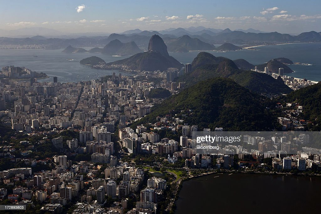 Guanabara Bay is seen in this aerial photograph of Rio de Janeiro, Brazil, on Thursday, July 4, 2013. Brazils shorter-term swap rates fell after a report showed inflation slowed in June more than analysts forecast, damping speculation that the central bank will increase borrowing costs at a faster pace. Photographer: Dado Galdieri/Bloomberg via Getty Images