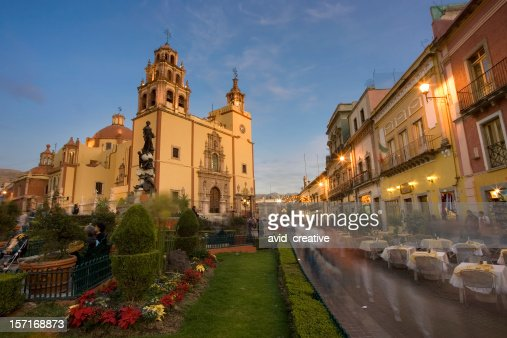 guanajuato plaza and cathedral at dusk stock photo