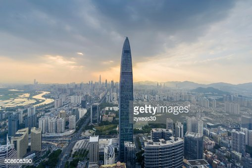 Guangdong province,China,shenzhen cityscape,High Angle View. : Stock Photo