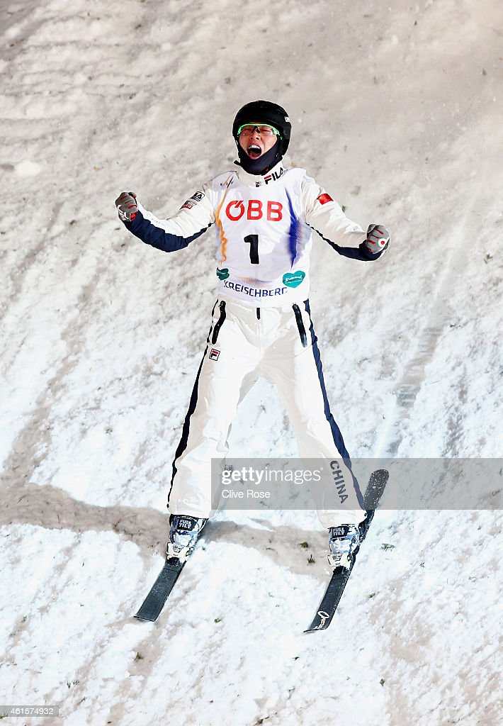 Guangpu Qi of China celebrates victory during the Men's Aerials Final of the FIS Freestyle Ski and Snowboard World Championship 2015 on January 15, 2015 in Kreischberg, Austria.