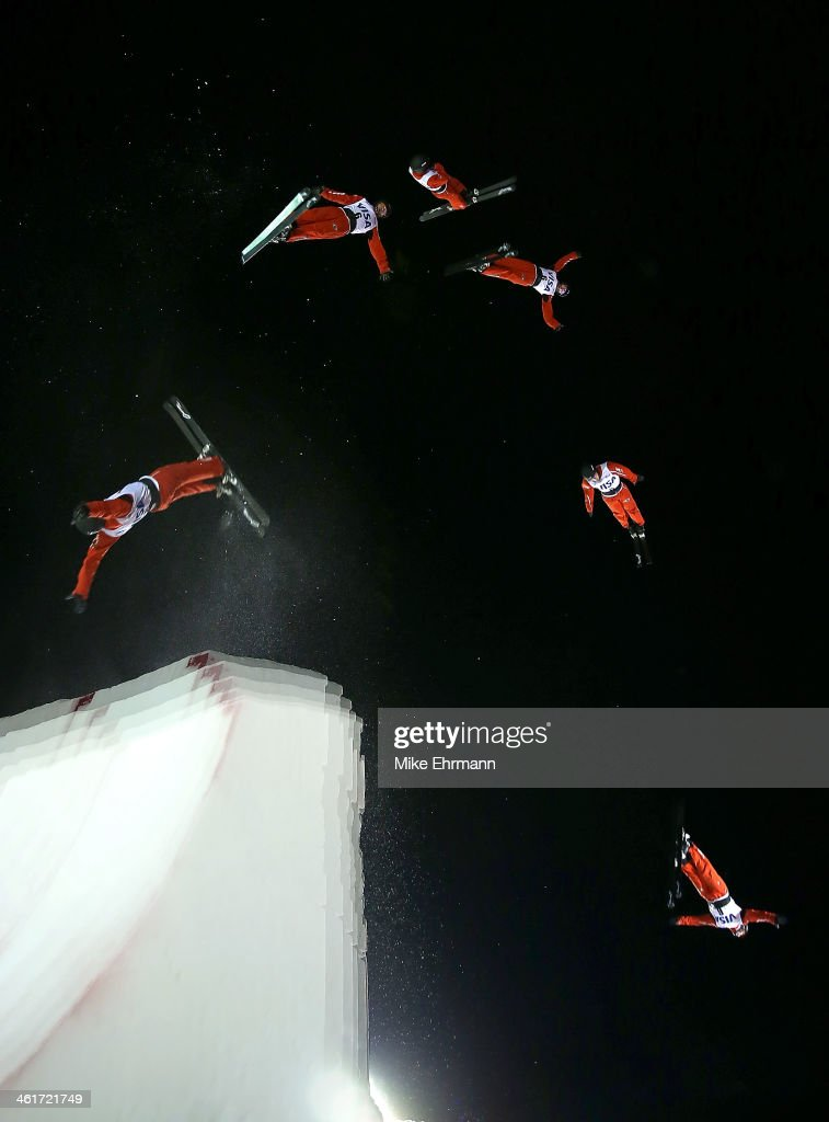 Guangpu Qi of China competes during the finals for the Mens Aerials at the FIS Freestyle Ski World Cup Aerial Competition at Deer Valley on January 10, 2014 in Park City, Utah.
