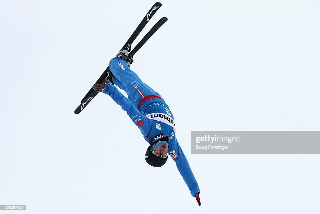 Guangpu Qi of China jumps to first place in the FIS Freestyle Skiing Aerial World Cup at the Visa Freestyle International at Deer Valley on February 4, 2016 in Park City, Utah.
