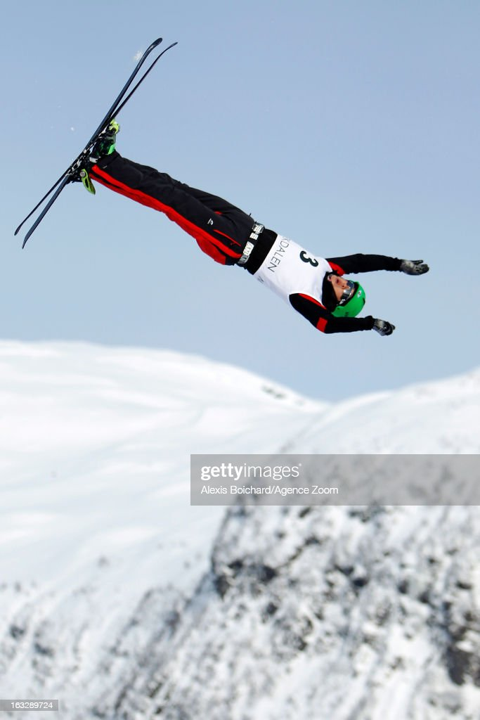 Guangpu Qi of China takes first place during the FIS Freestyle Ski World Championship Men's and Women's Aerials on March 07, 2013 in Voss, Norway.