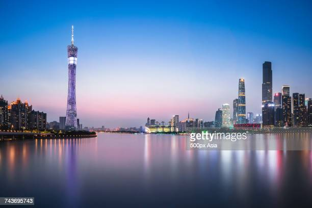Guangzhou city with Canton Tower at sunset, Guangdong, China