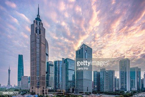 Guangzhou Cityscape At Dusk