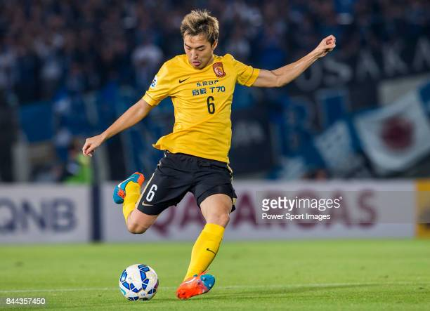 Guangzhou Evergrande defender Feng Xiaoting in action during the 2015 AFC Champions League Semi Final 2nd Leg matches between Gamba Osaka and...
