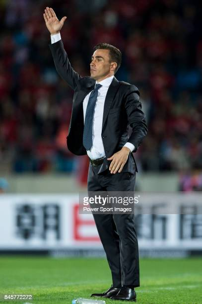 Guangzhou Evergrande Fabio Cannavaro gestures during the 2015 AFC Champions League Round of 16 1st leg match between Seongnam FC and Guangzhou...