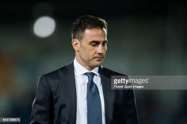 Guangzhou Evergrande Fabio Cannavaro reacts during the 2015 AFC Champions League Round of 16 1st leg match between Seongnam FC and Guangzhou...