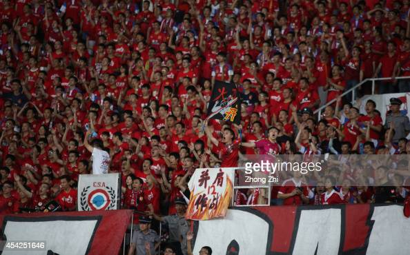 Guangzhou Evergrande fans show their support during the Asian Champions League Quarter Final match between the Western Sydney Wanderers and Guangzhou...