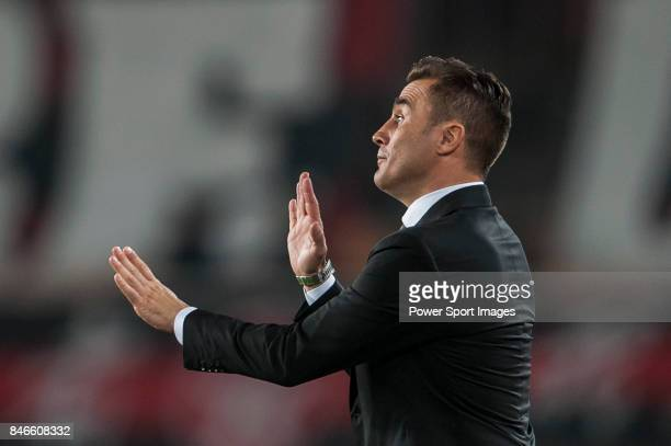 Guangzhou Evergrande head coach Fabio Cannavaro gestures during AFC Champions League Group Stage H match between Guangzhou Evergrande and FC Seoul at...