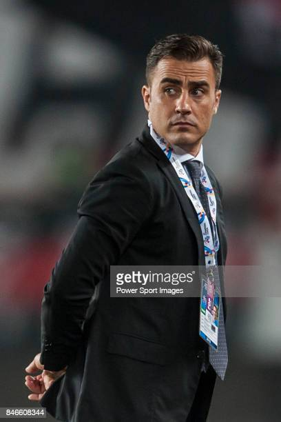 Guangzhou Evergrande head coach Fabio Cannavaro looks during AFC Champions League Group Stage H match between Guangzhou Evergrande and FC Seoul at...