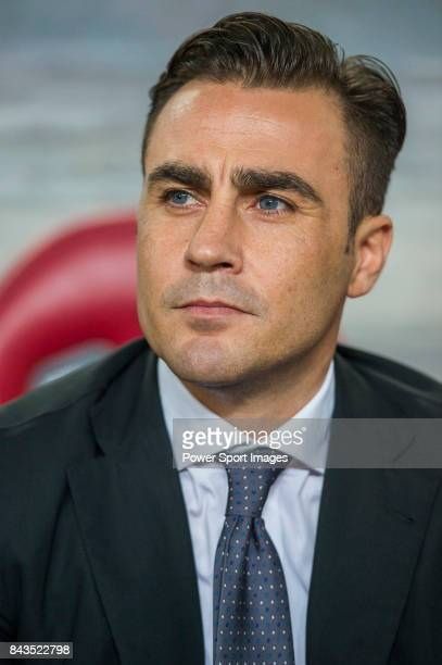 Guangzhou Evergrande head coach Fabio Cannavaro looks during the AFC Champions League 2015 Group Stage H match between Guangzhou Evergrande vs...