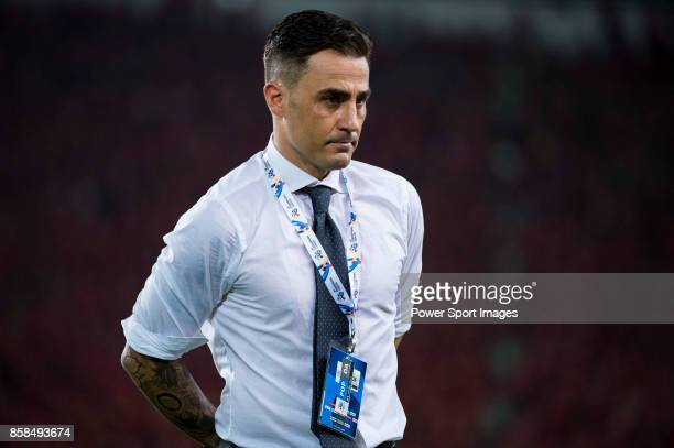 Guangzhou Evergrande head coach Fabio Cannavaro looks during the AFC Champions League 2015 2nd Leg match between Guangzhou Evergrande and Seongnam FC...