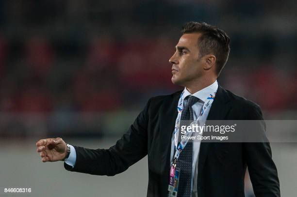 Guangzhou Evergrande head coach Fabio Cannavaro reacts during AFC Champions League Group Stage H match between Guangzhou Evergrande and FC Seoul at...