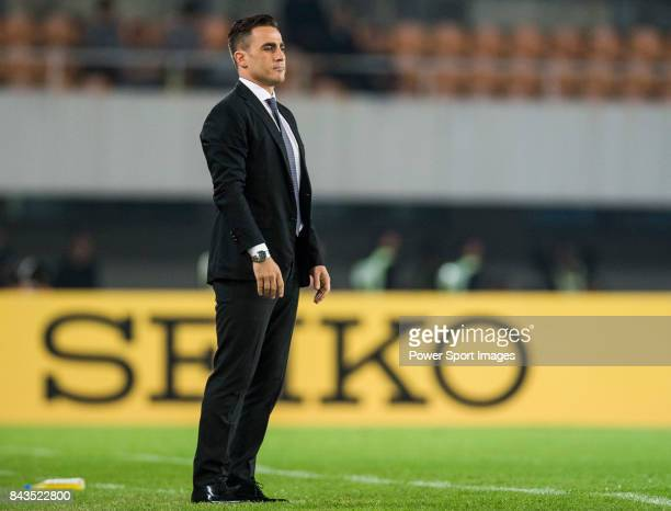 Guangzhou Evergrande head coach Fabio Cannavaro reacts during the AFC Champions League 2015 Group Stage H match between Guangzhou Evergrande vs...