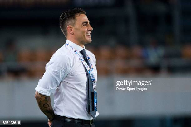Guangzhou Evergrande head coach Fabio Cannavaro reacts during the AFC Champions League 2015 2nd Leg match between Guangzhou Evergrande and Seongnam...