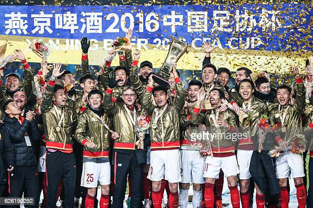 Guangzhou Evergrande Taobao Football Club celebrate after winning Jiangsu Suning Football Club during the final second leg of Yanjing Beer 2016...