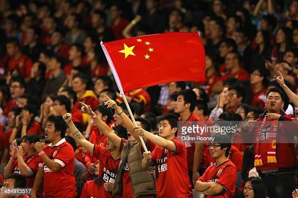Guangzhou fans show their support during the AFC Asian Champions League match between the Melbourne Victory and Guangzhou Evergrande at Etihad...