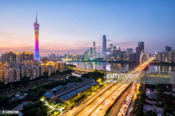 guangzhou night scence  after sunset