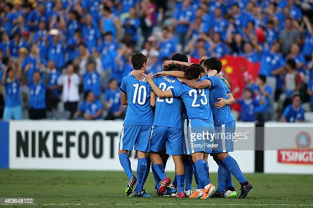Guangzhou RF players celebrate a goal during the Asian Champions League qualifying match between the Central Coast Mariners and Guangzhou at Central...