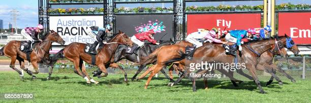 Guangzhou ridden by Michael Dee wins the Winx Hall of Fame Trophy at Flemington Racecourse on May 20 2017 in Flemington Australia