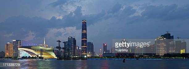 Guangzhou skyline over Pearl River at night