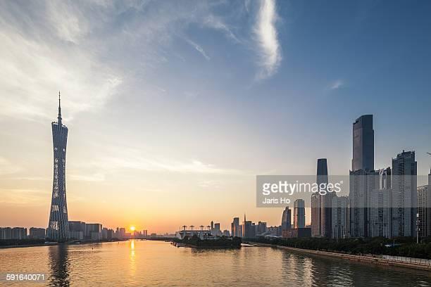 Guangzhou tower at dusk