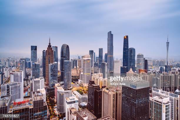 Guangzhou TV Tower and other modern skyscrapers in financial district, Guangzhou, Guangdong, China