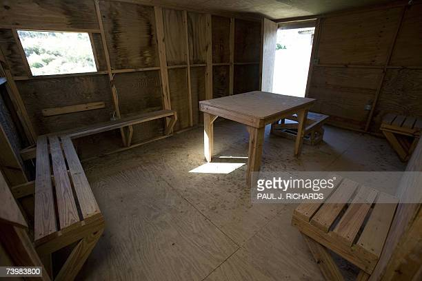 One of the detainee interrogation rooms in a plywood building at the deteriorating Camp XRay long ago abandoned for more modern facilities at the US...