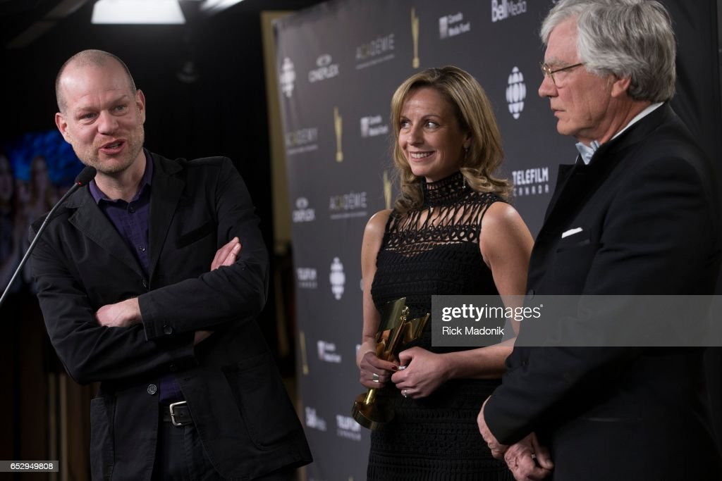 Guantanamo's Child producers Patrick Reed (left), Michelle Shepherd and Peter Raymont backstage after taking the award. Canadian Screen Awards red carpet at Sony Centre for the Performing Arts ahead of the show.